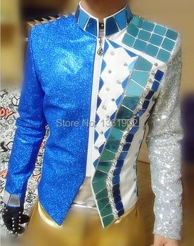 Plus size mens new style fashion blue male ds dj singer dance coat jazz performance gentlemane slim jacket nightclub bar costume