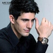 Megir relojes de cuarzo para hombre, cronógrafo deportivo, luminoso, de cuero, Reloj De Pulsera De Negocios