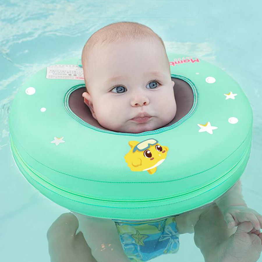 High quality safety baby need not inflatable floating green ring round the neck round floating ring toy baby swimming pool цены