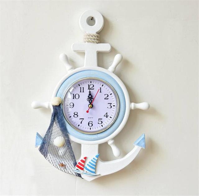 DIY Electronic wall clock Reloj Mediterranean Wooden sailing Rudder quartz clock Home Room Kitchen Decoration Hanging Wall Clock