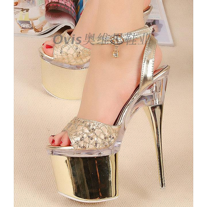 2015 fashion 18cm high heeled shoes luxurious thin heels gold ...