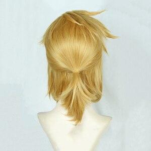 Image 4 - 젤다의 전설: 와일드 링크의 숨결 짧은 황금 금발 조랑말 꼬리 머리 코스프레 의상 가발 내열성 섬유 + 귀
