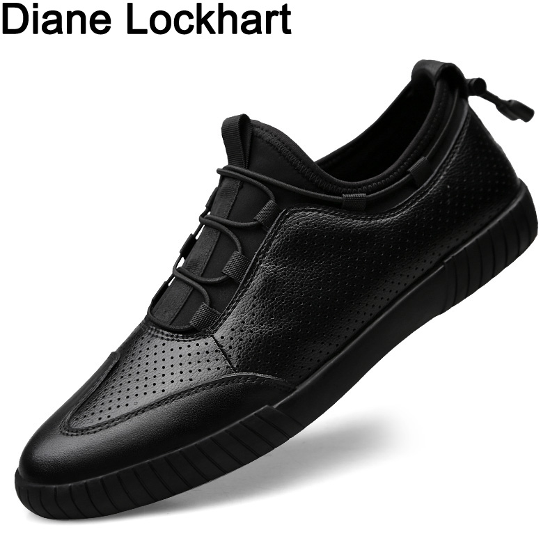 Men Luxury Brand Black Casual Shoes Man Breathable Genuine Leather Shoes Spring Autumn Adult Male Leather