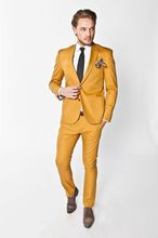 Custom Made Orange Homecoming Man Suit 2 Pieces Mens Wedding Prom Party Suits Slim Fit Groom Tuxedos blazer masculino 2016 New