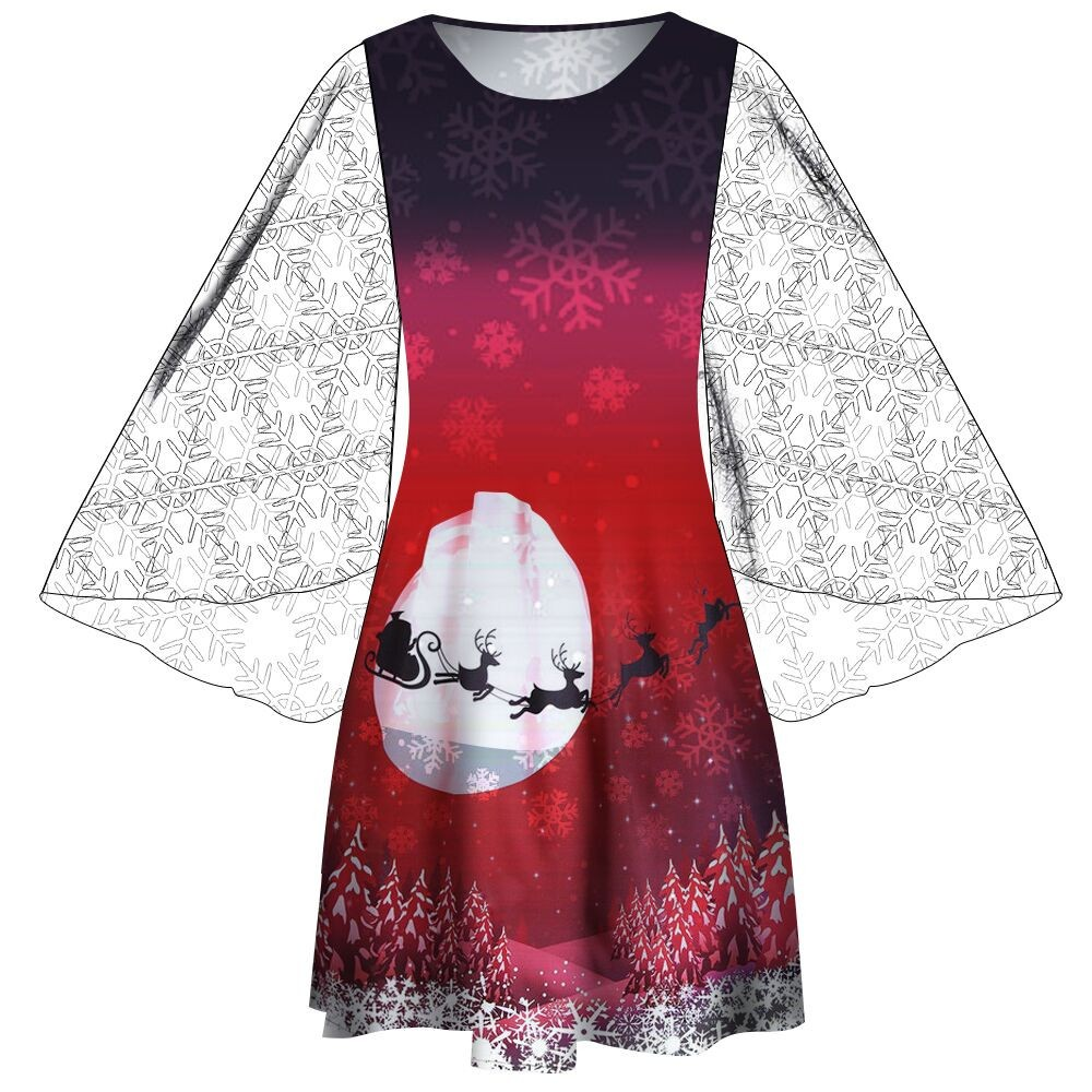 Mesh Patchwork Women Christmas Print Dresses elegant plus size Long Sleeve  Party Swing Vintage Dress Ladies 191d44d9b60f