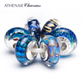 ATHENAIE Murano Glass 925 Sterling Silver Core Gorgeous Blue Charm Beads Kits Fit For European Bracelets and Necklaces