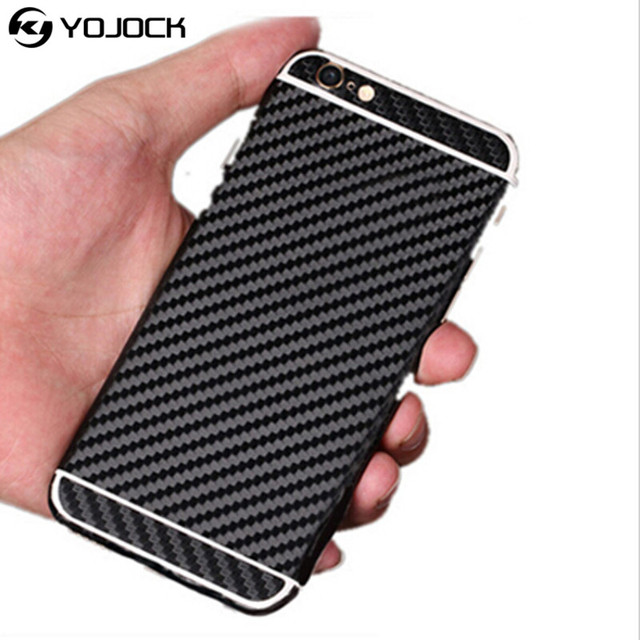 best website 6a741 7c5ac US $1.79 10% OFF|Yojock Phone Sticker Case for iPhone 7 8 3D Carbon Fiber  Full Body Back Film Sticker Case Cover Wrap Skin For iPhone X 6S 5S SE-in  ...