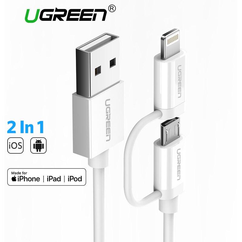 Ugreen 2 en 1 Cable Micro USB para Samsung Xiaomi Lightning a USB Cable de datos de carga para el iPhone X 7 8 6 Cables del teléfono del iPad