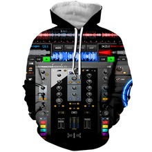 YX GIRL 3D Print DJ Equipment Mens Hoodies Sweatshirt With Hat Pocket Men Autumn Spring Tracksuit Pullover Dropshipping