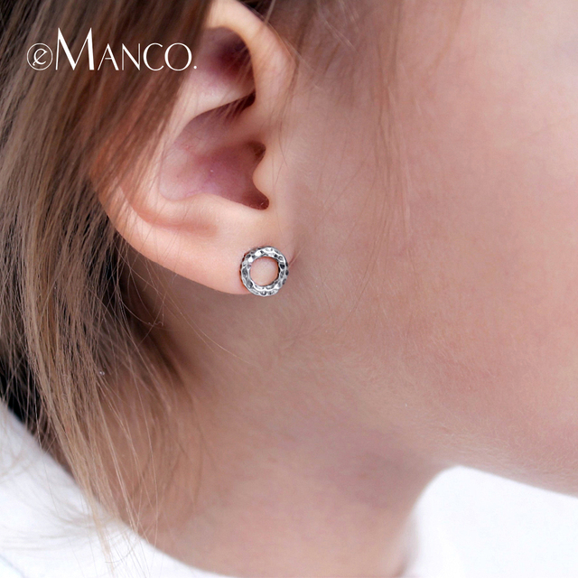 e-Manco Genuine 925 Sterling Silver Stud Earrings for Women Geometry Round Simpl