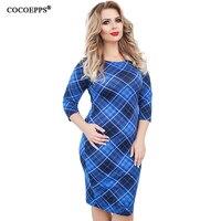 COCOEPPS 5XL 6XL Plus Size Plaid Dress Women Elegant Office Work Dresses Large Size Spring New