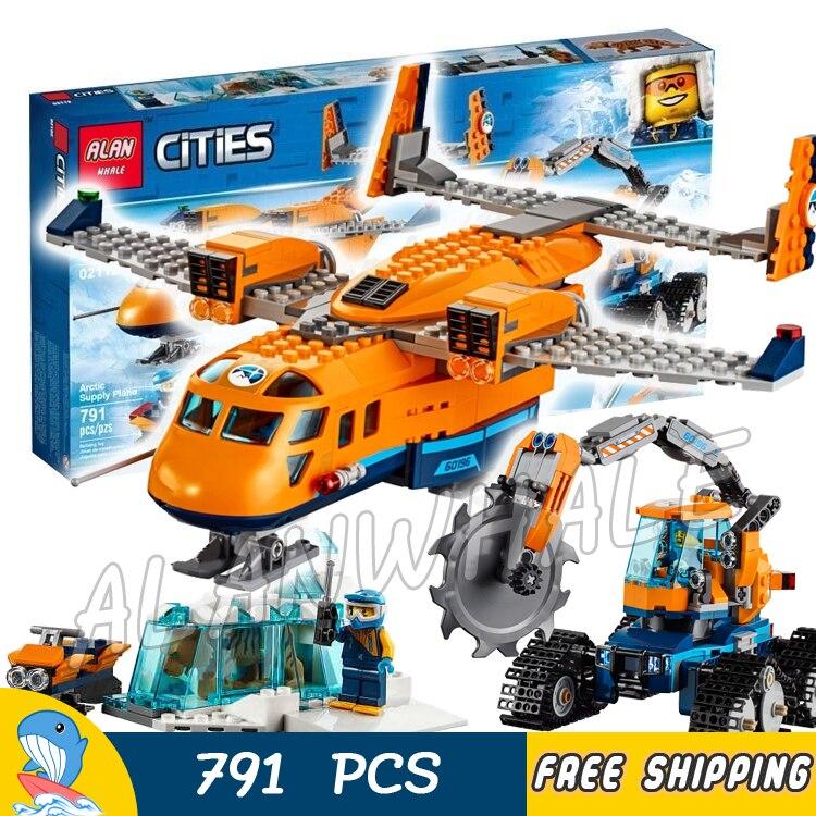 791pcs City Arctic Supply Cargo Plane Ice Cutter Vehicle Explorer 02112 Model Building Blocks Toys Bricks Compatible With lego