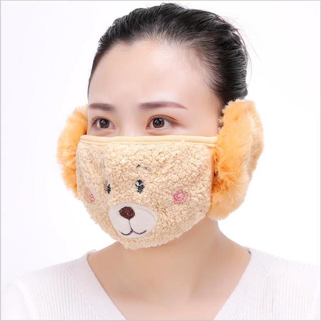 Cute bear design women Ear protective mouth mask Windproof earmuff anti dust winter masks girls Anti Haze Flu cotton Face masks 5