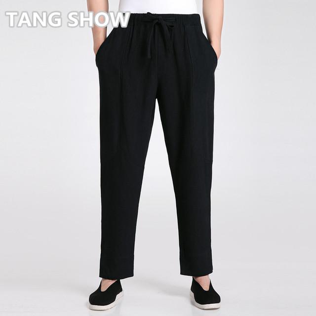 Alta Qualidade Macho Preto Causal Solto Calças De Linho De Algodão dos homens Chineses Kung Fu Tai Chi Calças S M L XL XXL XXXL 2606