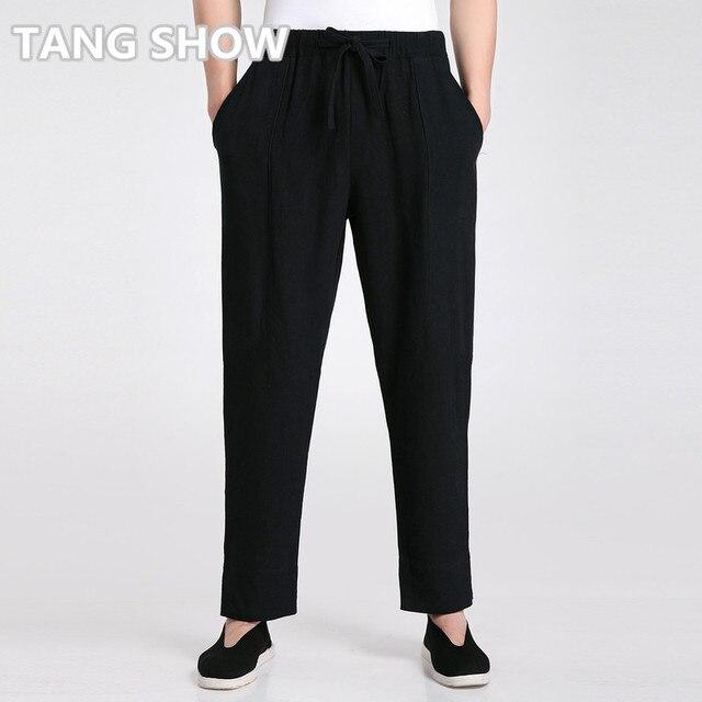 High Quality Black Male Loose Causal Cotton Linen Pants Chinese Men's Kung Fu Tai Chi Trousers S M L XL XXL XXXL 2606