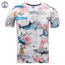 2017 Mr.1991INC Nice T-shirt Men/ladies summer season tops tees shirt 3d print stunning Roses flowers shark model 3d t-shirt Asia plus