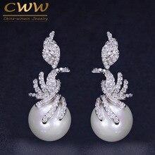 CWWZircons Gorgeous Micro Pave Cubic Zirconia Stones Silver Color Women Dangling Drop Pearl Earrings Fashion Jewelry CZ061