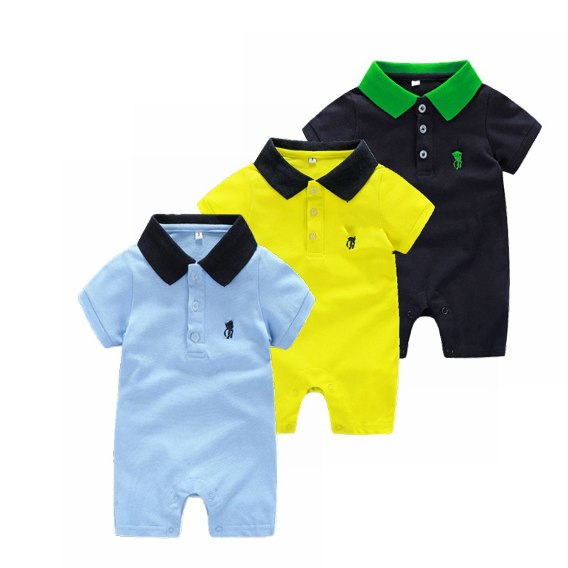 2019Summer Solid Color Cute Baby Attire Summer Short-Sleeved Baby One-Piece Blouse Lapel Baby Clothing   Romper
