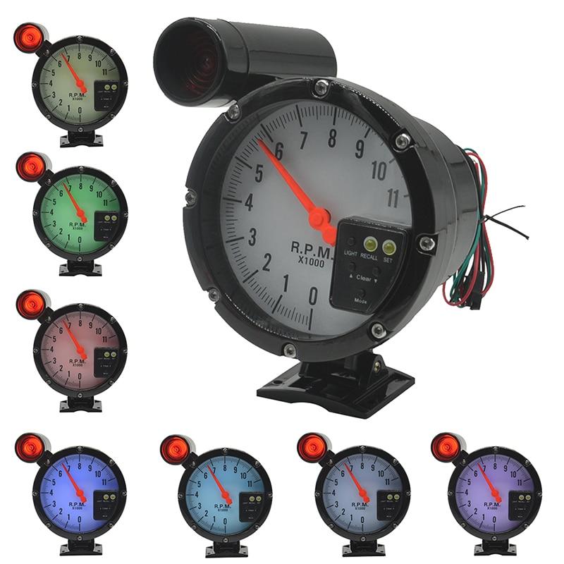 Medidor de dragón Motor paso a paso de 5 pulgadas Indicador de tacómetro automático para automóvil Fondo de luz de advertencia 7 colores de luz de fondo rpm Envío gratis