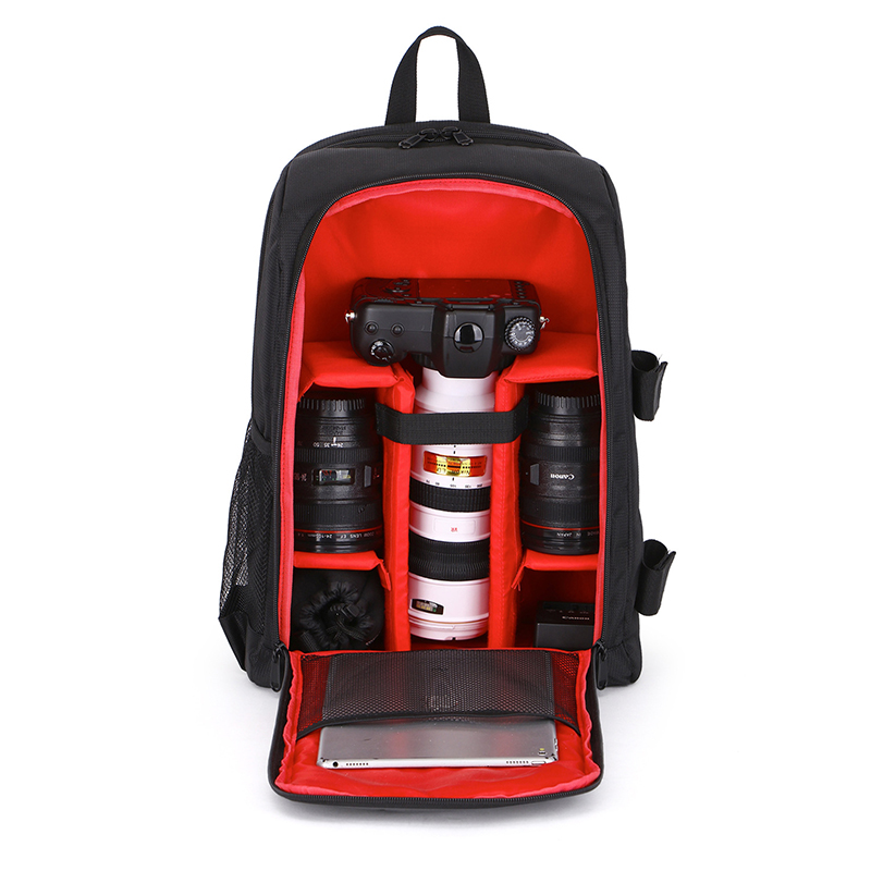 Pro Camera Backpack Waterproof Nylon DSLR Bag with Adjustable Length Outdoor Shockproof liner for Canon Sony Nikon