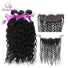 Brazilian Water Wave Pre Plucked Lace Frontal Closure With Bundles Human Hair Weave Non Remy 8-28 inches Trendy Beauty Hair(China)