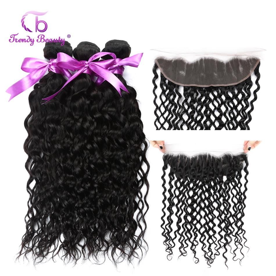 Brazilian Water Wave Pre Plucked Lace Frontal Closure With Bundles Human Hair Weave Non Remy 8-28 inches Trendy Beauty Hair