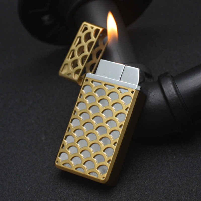 Image 4 - Dual Fire Jet Lighter Torch Turbo Lighter Hollow Free Fire Windproof Metal Cigar Pipe Gas Lighter 1300 C Butane Gadgets For Man-in Matches from Home & Garden