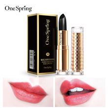 Onespring Rose extract black lipstick Sexy Red Lip Waterproof Long Lasting Matte Lipstick Moisturizer Color changing