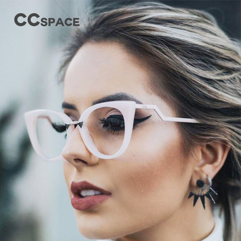 45045 Brand Designer Optical Lady Cat Eye Glasses Frames For Women EyeGlasses Metal Temple Fashion Eyewear