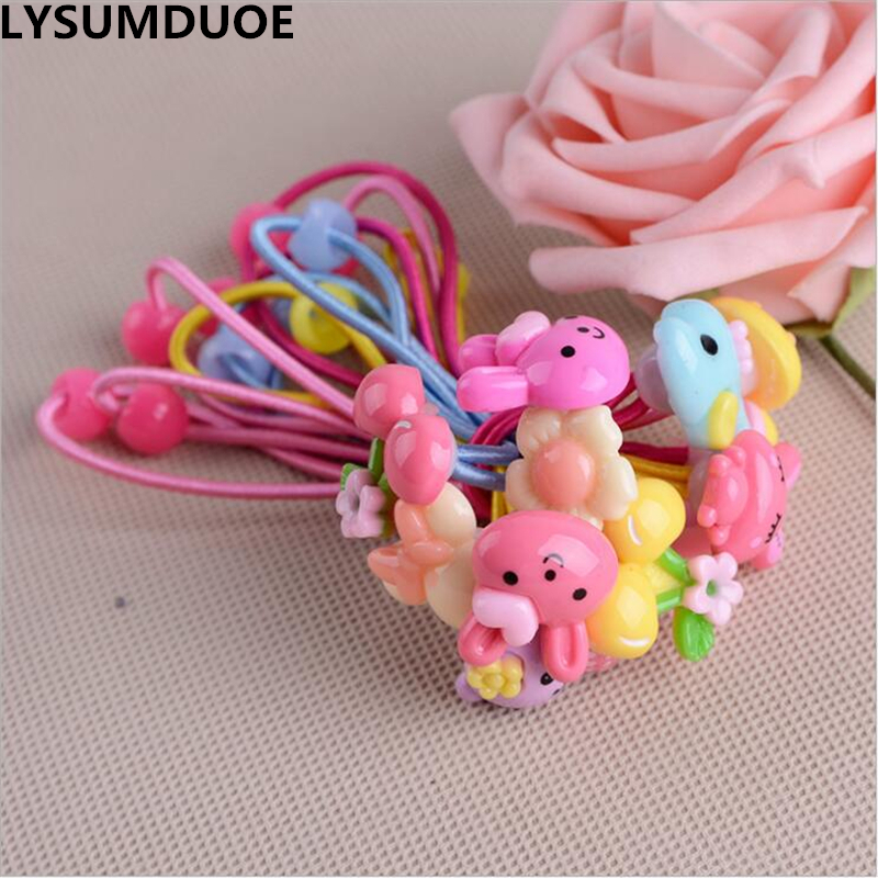 LYSUMDUOE Girls Elastic Hair Bands Flower Scrunchy Headband Floral Jewelry Ring Girl Random Ribbon Ornaments Hair Accessories new flower knot elastic hair bands cotton kids headband scrunchy hair accessories easov w219