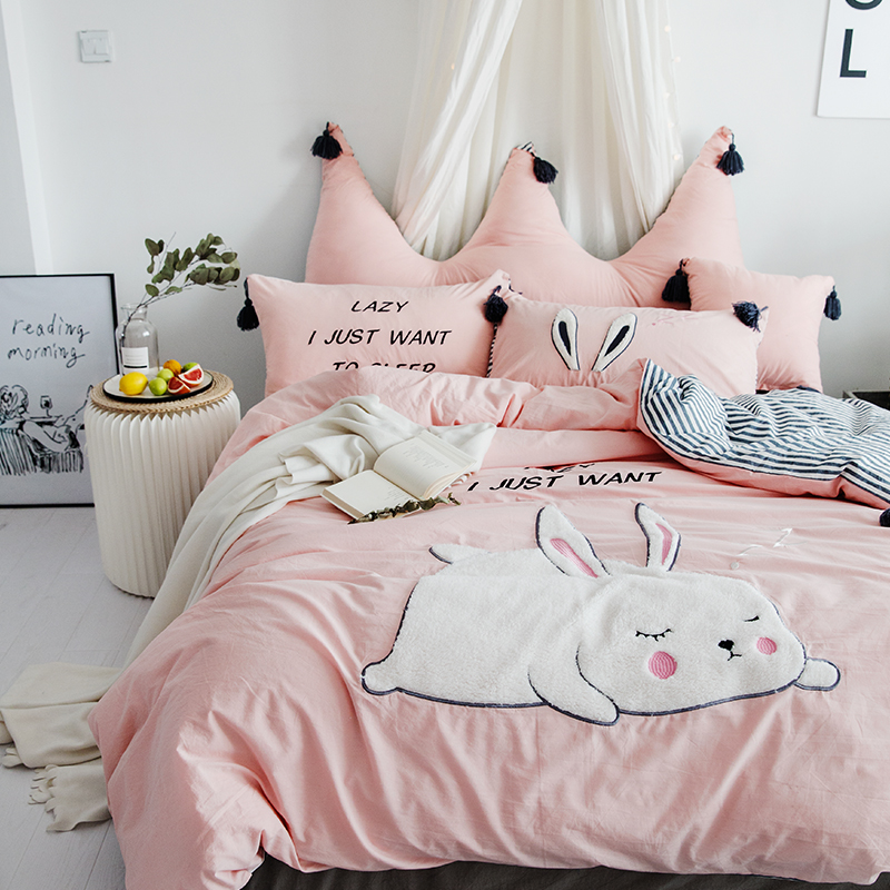 Pink Cute Cartoon Rabbit Bear Embroidery 100% Washed Cotton Bedding Set Duvet Cover Bed Sheet/Linen Pillowcases Gift For Child