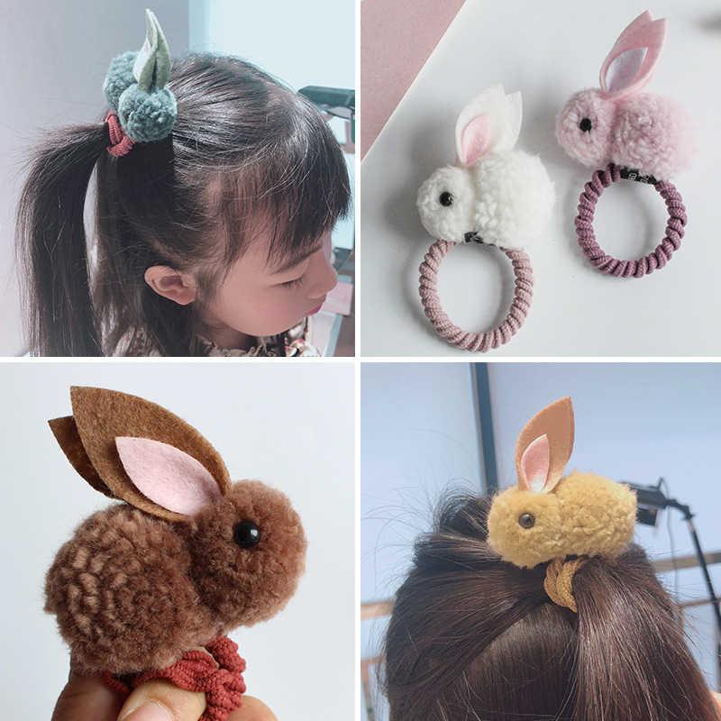 Crianças meninas bonito dos desenhos animados coelho pelúcia anel de cabelo corda elástico rabo de cavalo bandana sentiu orelhas tridimensionais
