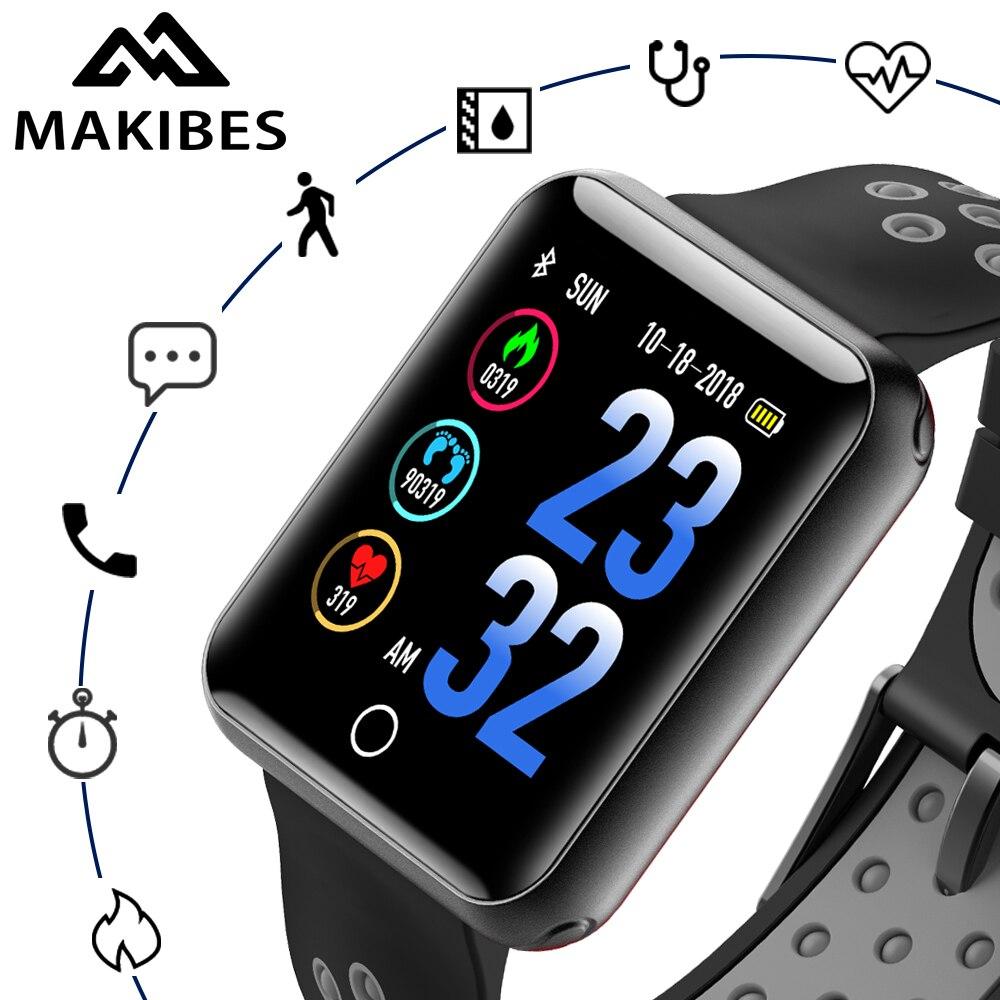 Makibes CK01 Orologi Smart degli uomini di Colore Dello Schermo In vetro Temperato Per Il Fitness Tracker Q18 pressione Sanguigna IP68 orologio frequenza cardiaca Smartwatch