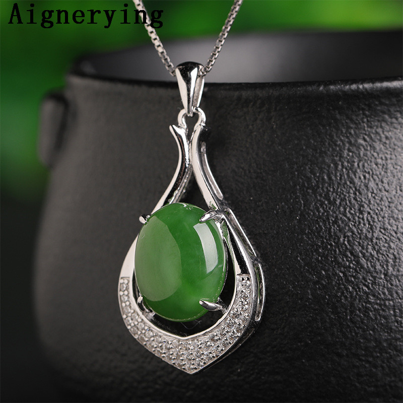 Green Natural Jade Pendant S925 silver Necklaces Para Vintage for Women Necklace inlaid Porte Certificate  Bijou Gift Box