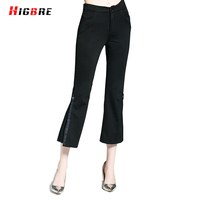 HIGBRE Slim Fit High Waist Trousers Casual Pants Women Summer 2017 Pencil Pants Black Elastic Flare
