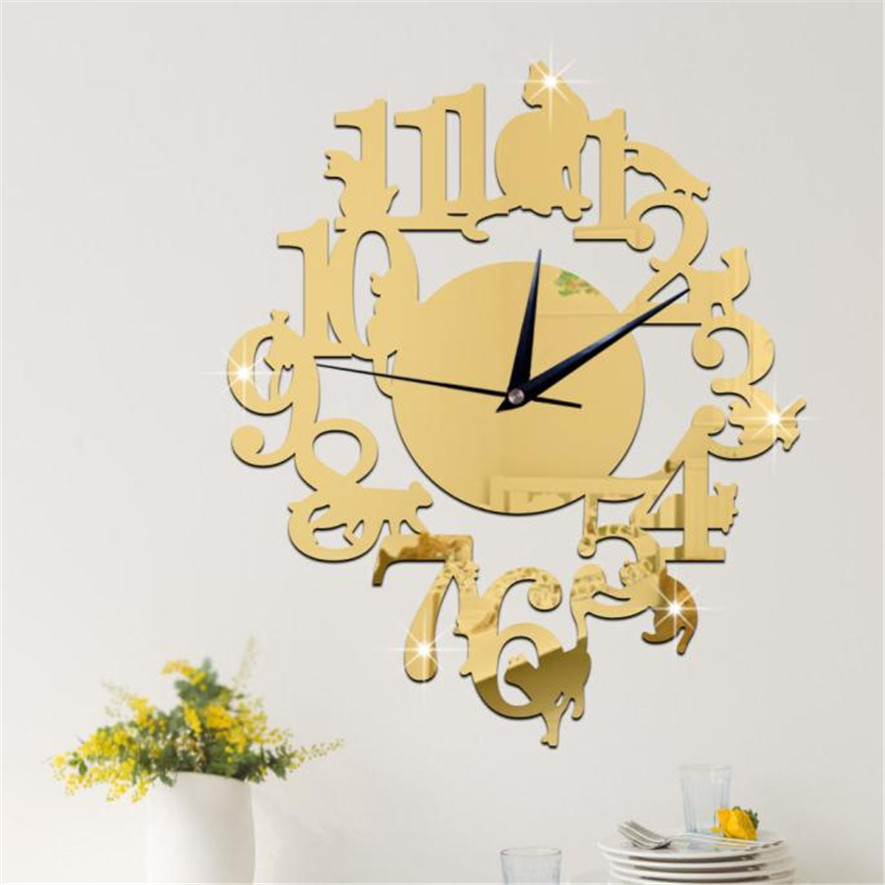 Oujing Unique Cat Mirror Gold Wall Clock Modern Design Home Decor Watch Wall Sticker 30