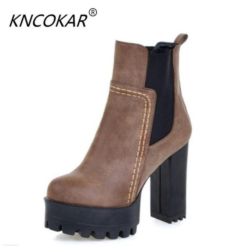 KNCOKAR 2017 Autumn and winter new European and American fashion short boots with high heels and super size 35-47 female boots цена 2017