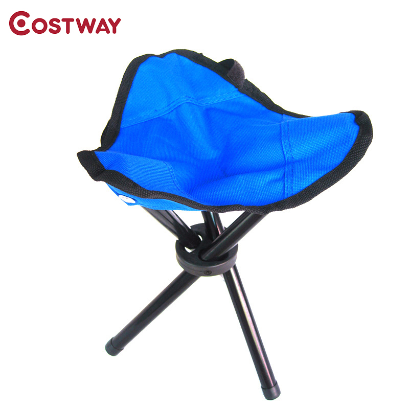 COSTWAY Outdoor Small Three-Legged Stool Camping Folding Chair Oxford Cloth Fishing Chair Portable Beach Chair W0261 bamboo bamboo portable folding stool have small bench wooden fishing outdoor folding stool campstool train