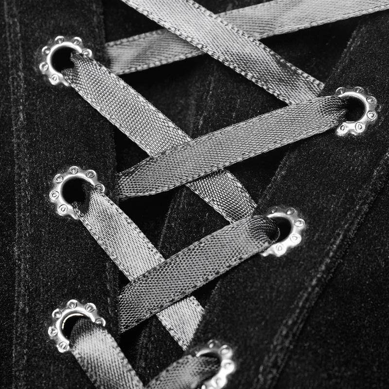Punk Rave Lolia delle Donne Lace up Orlo di Pizzo di Velluto Shorts Con Lunghe Ruffles WK354XDF - 6