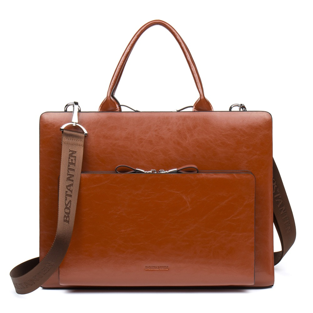 Bostanten Men Women Business Briefcase Bag Genuine Leather 15.7inch Laptop Male Briefcase Shoulder Bag Crossbody Tote Handbag