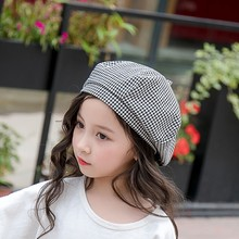 3-8T New Fashion Baby Hat for Girls Cotton Plaid Baby Girl Hat Vintage Kids Beret Cap Infant Baby Accessories new 2018 baby hat for girls vintage autumn winter baby cap kids adjustable infant girl beret hat baby accessories 1 pc