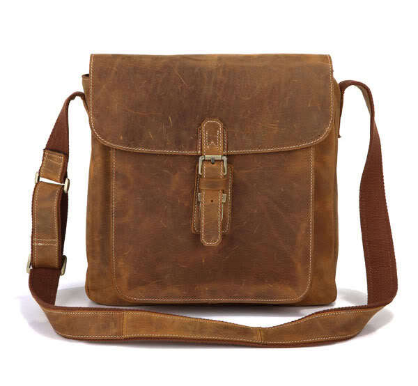 Vintage 100 Crazy Horse Genuine Leather Bag Men Messenger Bags Fashion Leisure Shoulder bags Men Small