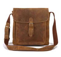 Vintage 100% Crazy Horse Genuine Leather Bag Men Messenger Bags Fashion Leisure Shoulder bags Men Small Bag NEW #VP J7111