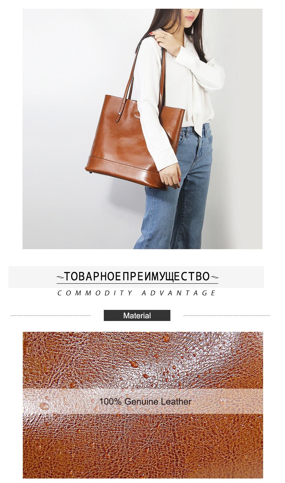 Zency 100% couro genuíno moda marrom bolsa