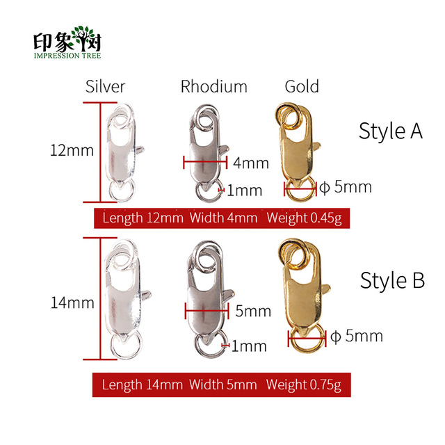 12mm Rhodium Plated Lobster Claw Clasps 10 pcs