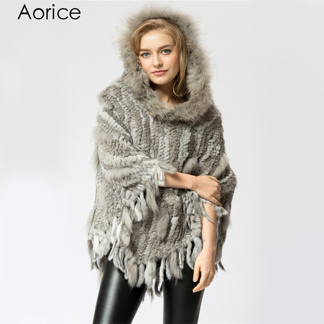 SRR003-1 Real Knitted rabbit & raccoon Fur Shawl poncho stole shrug cape robe tippet wrap women's winter natural fur warm coat