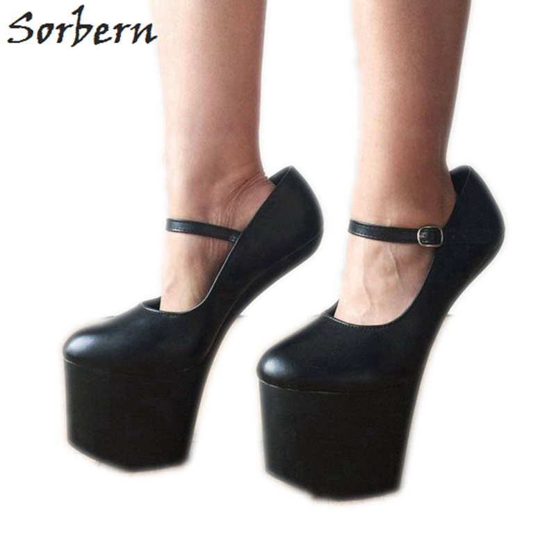 04a0944e2921 ... Sexy Fetish Strange Hoof heel Platforms shoes Costume Corset Goth. US   61.60. (2). 2 orders. Sorbern Matte Black Mary Janes Women Pumps Hoof  Heelless ...