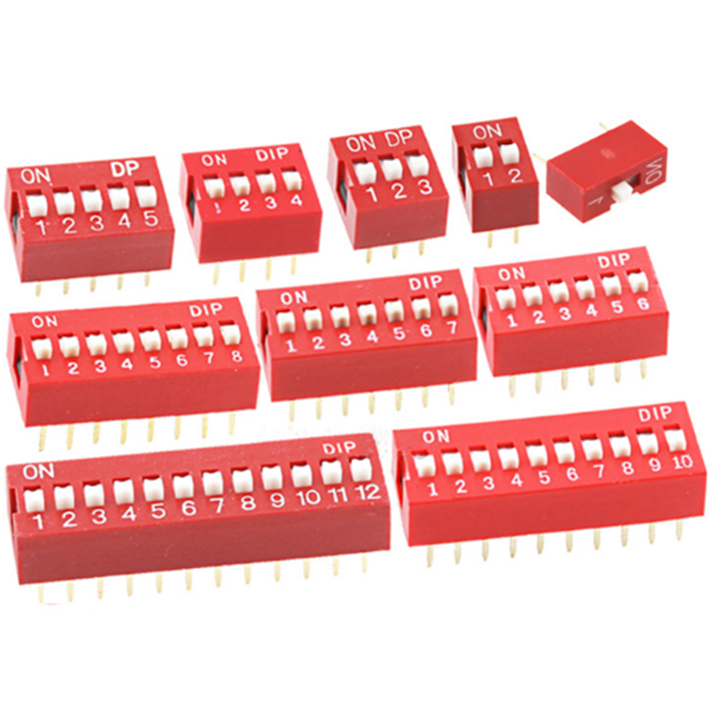 10pcs Ds-1p2p3p4p5p6p8p10p 2.54mm Flat Red Dip Dial Switch Red Plug-in Dip Switch Sliding Toggle Dip Switches