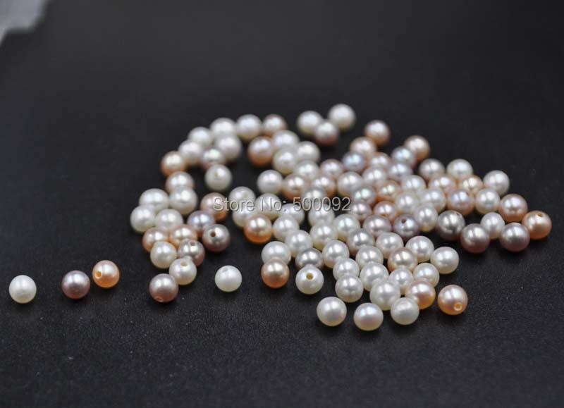 En gros 100 pièces 3mm à 3.5mm d'eau douce véritable perle à moitié percé