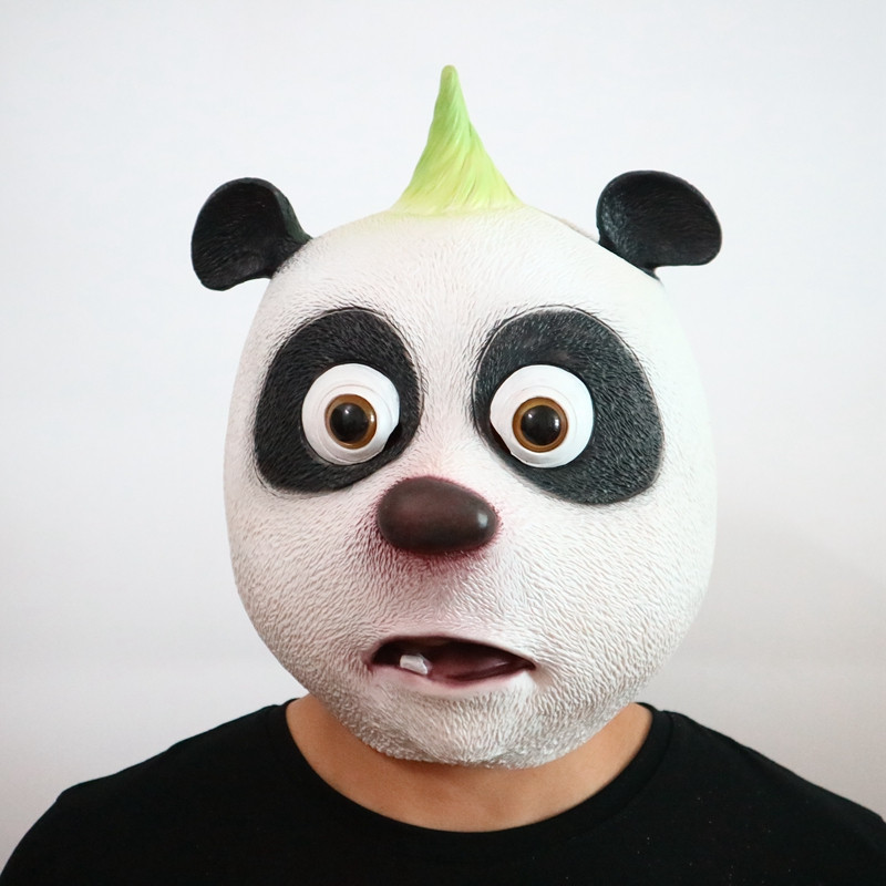 Cute Panda Head Latex Mask Lifelike Giant Panda Mask Halloween Cosplay Costume Prop Breathable Festival Party Supplies 2 Types